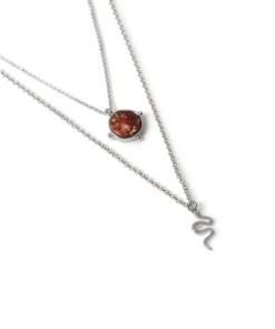 Halskette mit Schlangen- und Steindetail, silber, SILBER