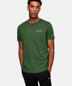 CHAMPION T-Shirt mit kleinem Logo, grün, GRÜN