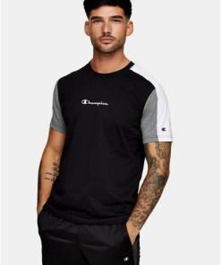 Champion T-Shirt mit kleinem Logo, schwarz, SCHWARZ