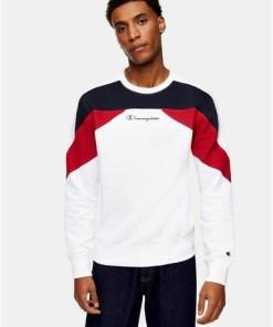 Champion Sweatshirt mit Logo, weiß, WEIß