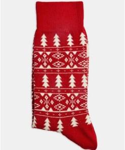 GRAUSportstrümpfe mit Weihnachtsmotiv und Jacquardmuster, rot, GRAU