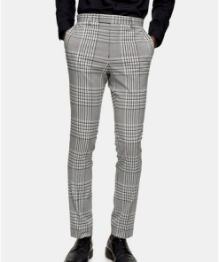 GRAUGrey Check Super Skinny Suit Trousers, GRAU