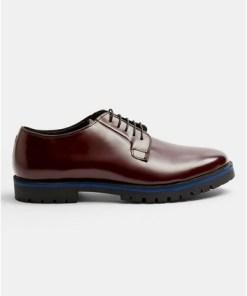 Derby-Schuhe aus Leder mit blauer Sohle, weinrot, ROT