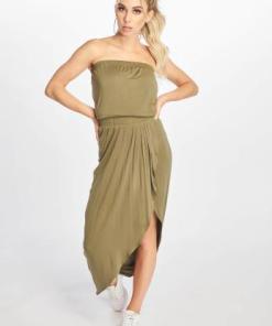 Urban Classics Frauen Kleid Ladies Viscose Bandeau in olive