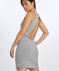 Urban Classics Frauen Kleid Back Cut Out in grau