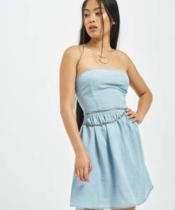 Urban Classics Frauen Kleid Bandeau in blau