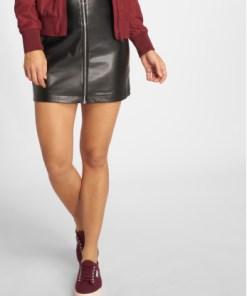 Urban Classics Frauen Rock Faux Leather Zip in schwarz