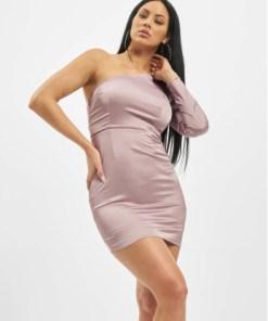 Missguided Frauen Kleid One Sleeve Stretch Satin Mini in violet