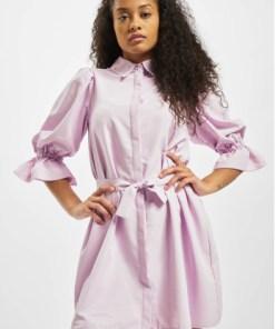 Missguided Frauen Kleid Puff Sleeve Belted Mini Shirt in violet