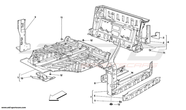 Ferrari 348 Structural frames parts at ATD-Sportscars