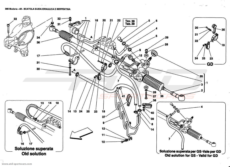 Ferrari 360 Modena HYDRAULIC STEERING BOX AND SERPENTINE