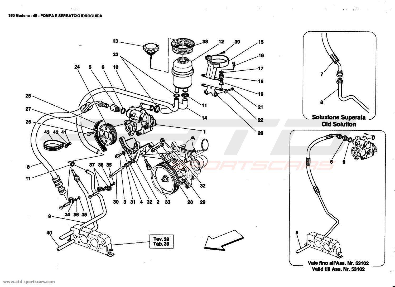 Ferrari 360 Modena HYDRAULIC STEERING PUMP AND TANK parts