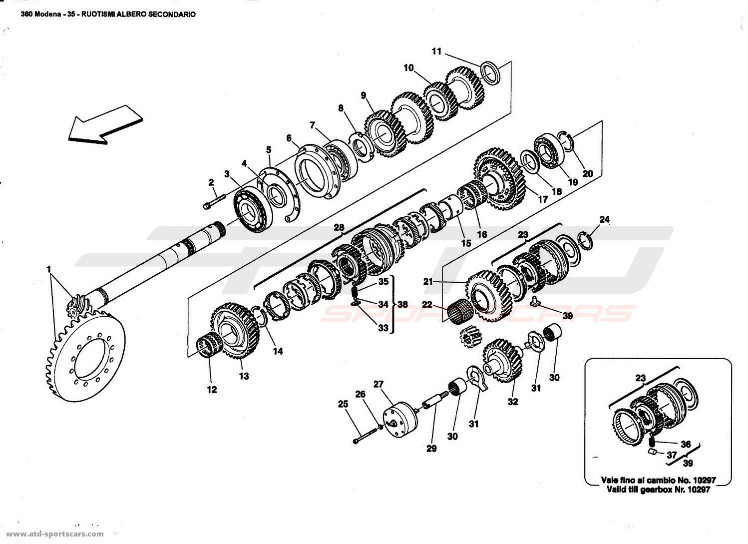 Ferrari 360 Modena LAY SHAFT GEARS parts at ATD-Sportscars