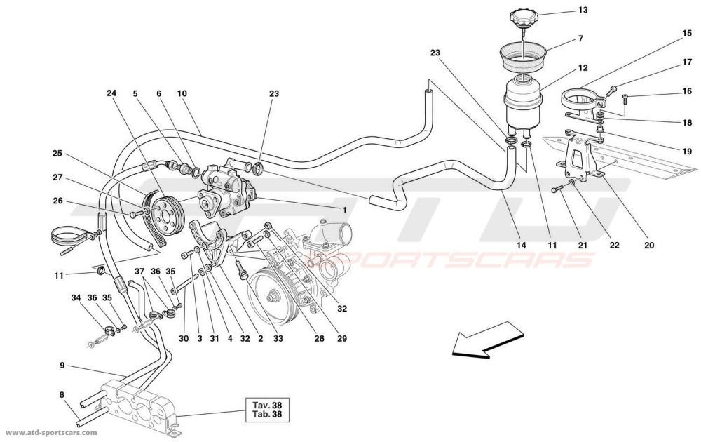 medium resolution of ferrari 360 spider hydraulic steering pump and tank