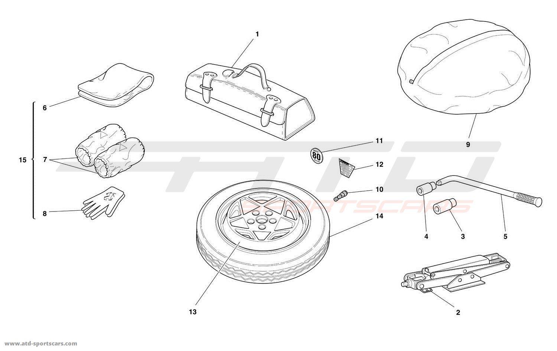 Ferrari 456 M GT / GTA SPARE WHEEL AND EQUIPMENT parts at