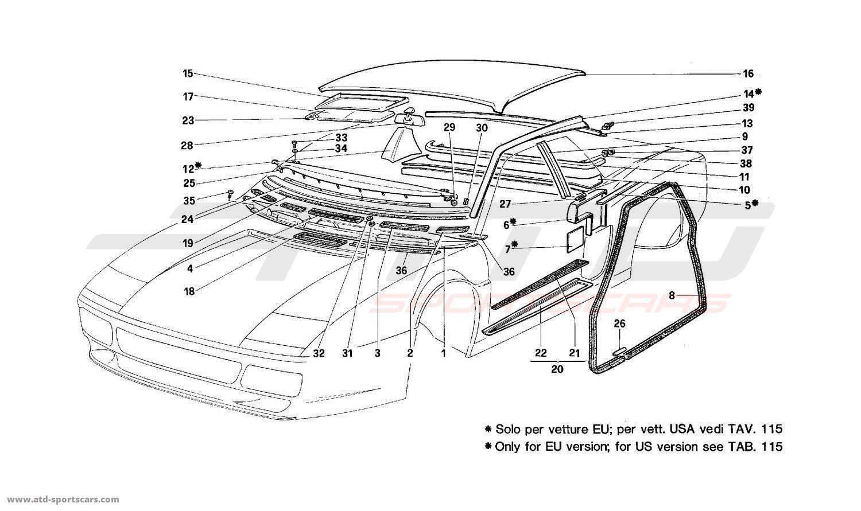 Ferrari 512 TR Structural frames parts at ATD-Sportscars