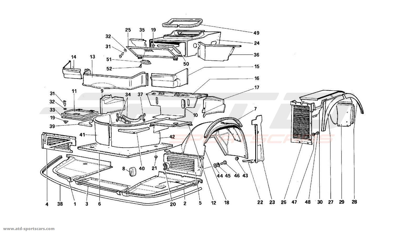 Ferrari 512 TR Structural frames parts at ATD-Sportscars