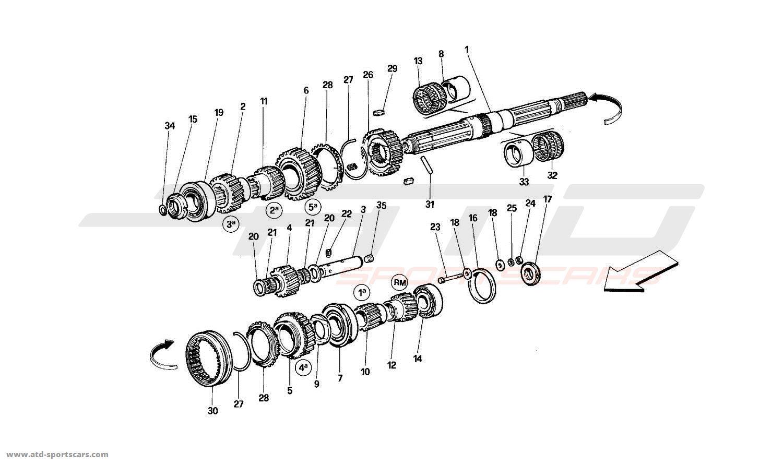 Ferrari 512 TR Main Shaft Gears parts at ATD-Sportscars
