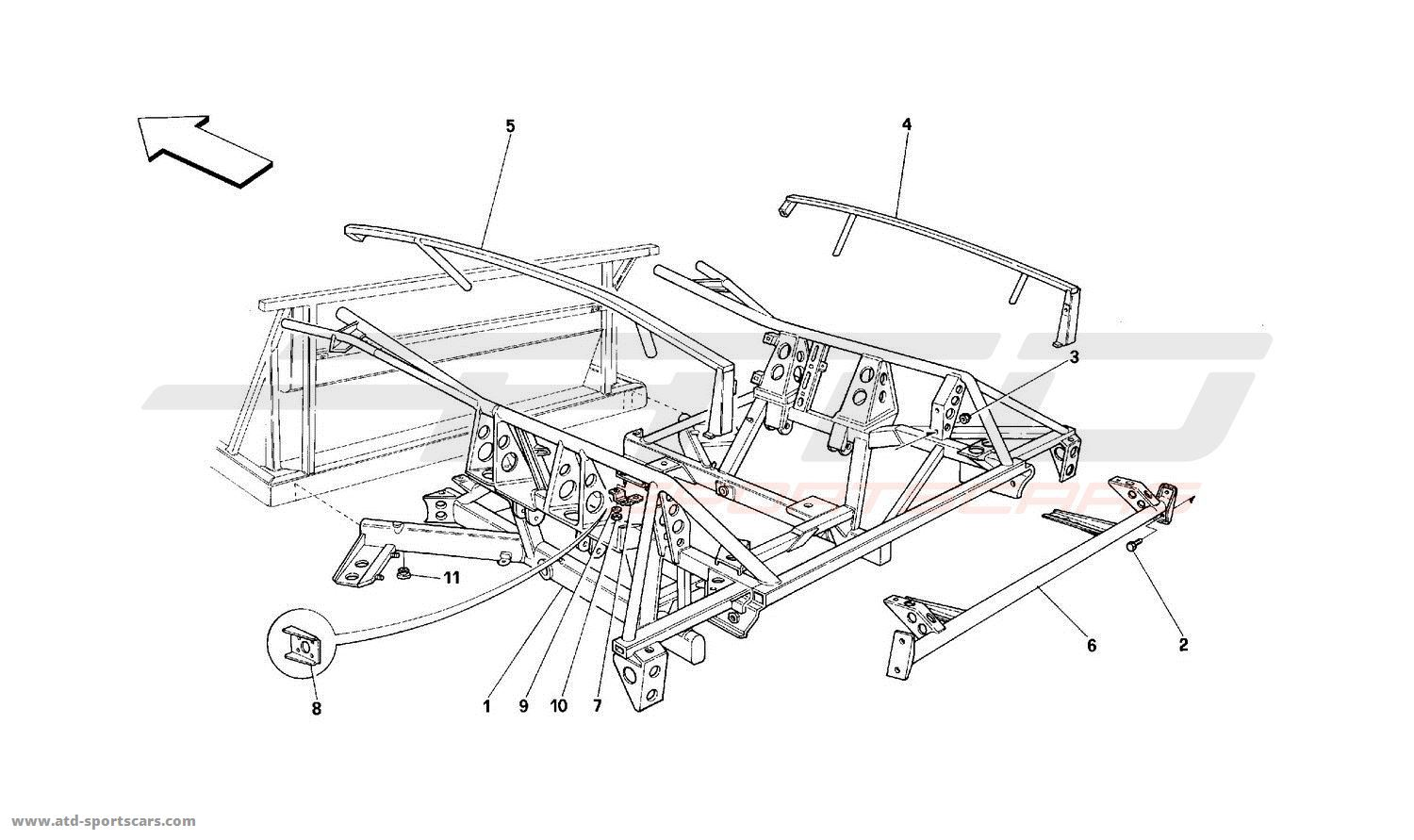 Ferrari 512 Tr Structural Frames Parts At Atd Sportscars