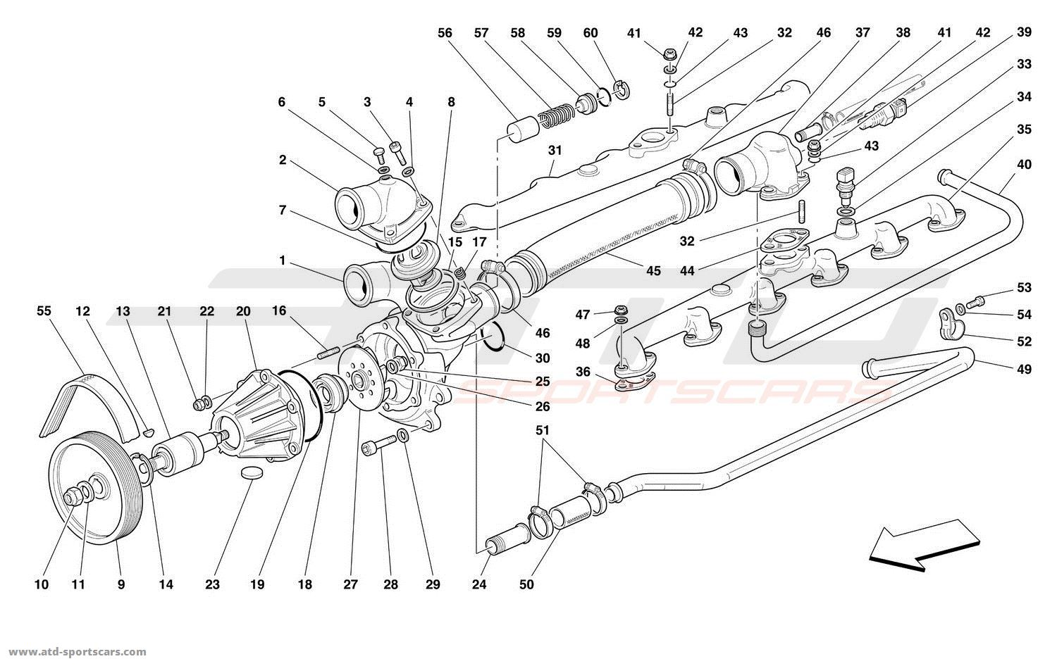 Ferrari 550 Maranello WATER PUMP parts at ATD-Sportscars
