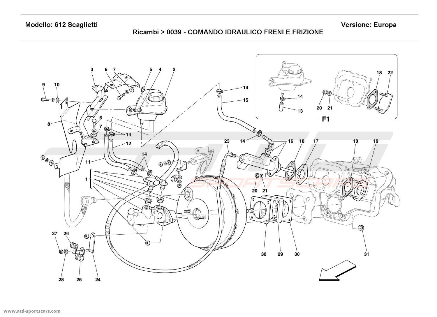 Ferrari 612 Scaglietti BRAKE AND CLUTCH HYDRAULIC SYSTEM