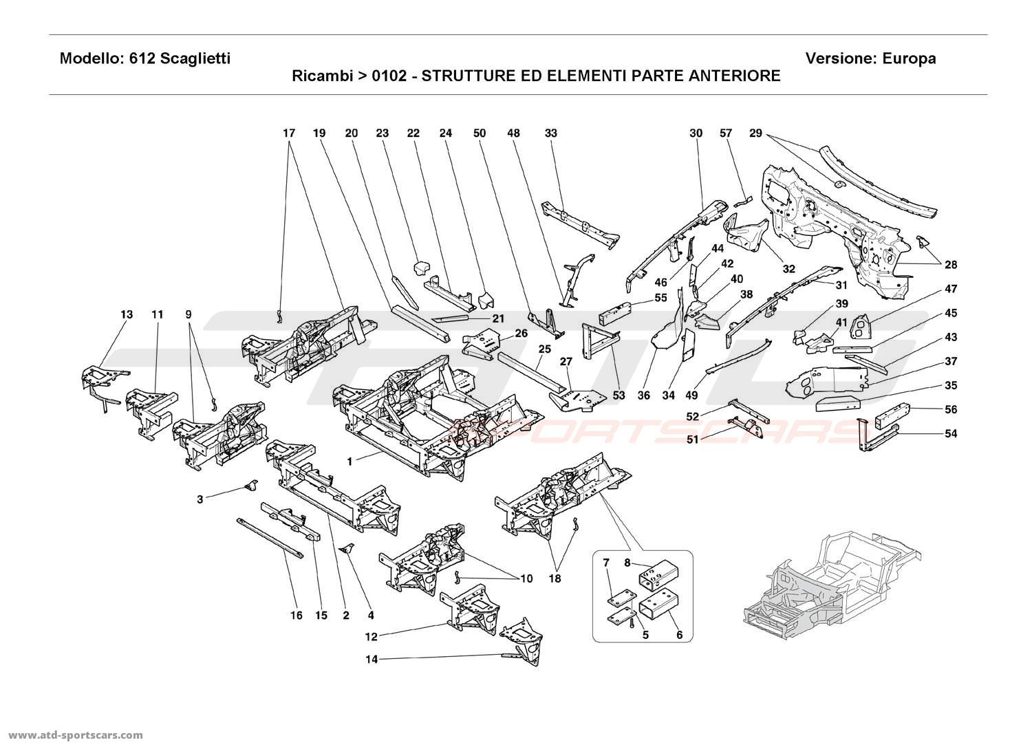 Ferrari 612 Scaglietti FRONT STRUCTURES AND COMPONENTS