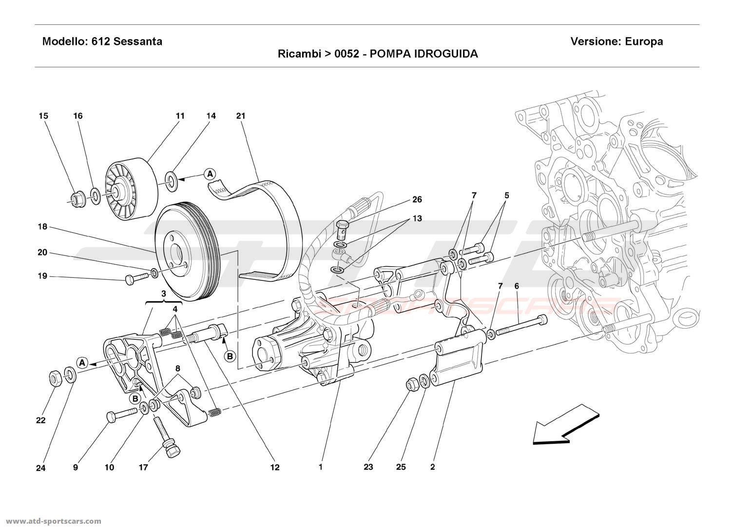 Ferrari 612 Sessanta HYDRAULIC SERVO-CONTROL PUMP parts at