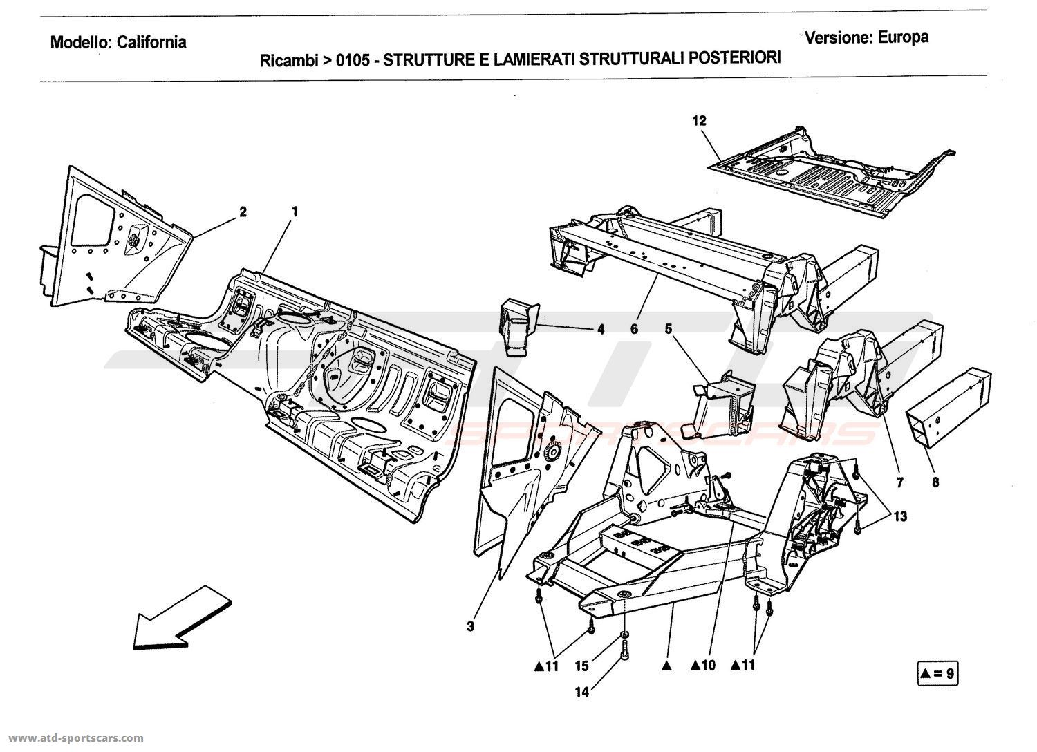 Ferrari California 2011 REAR STRUCTURES AND CHASSIS BOX
