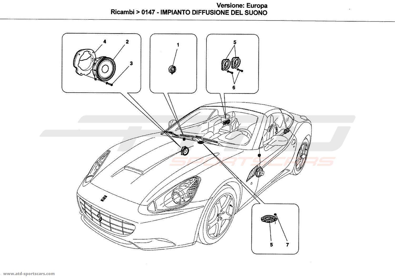 Ferrari California SOUND DIFFUSION SYSTEM parts at ATD