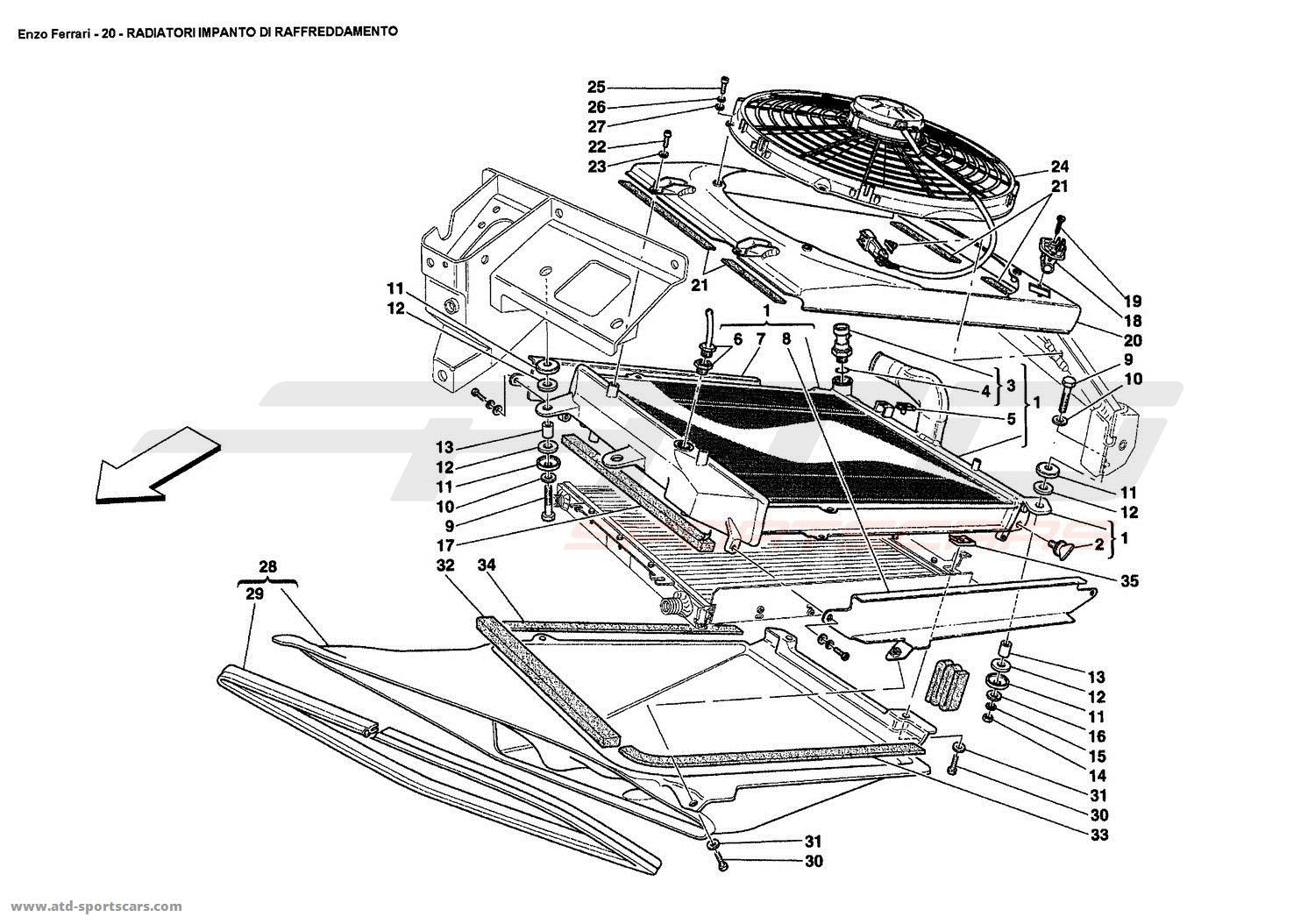 Ferrari Enzo COOLING SYSTEM RADIATORS parts at ATD