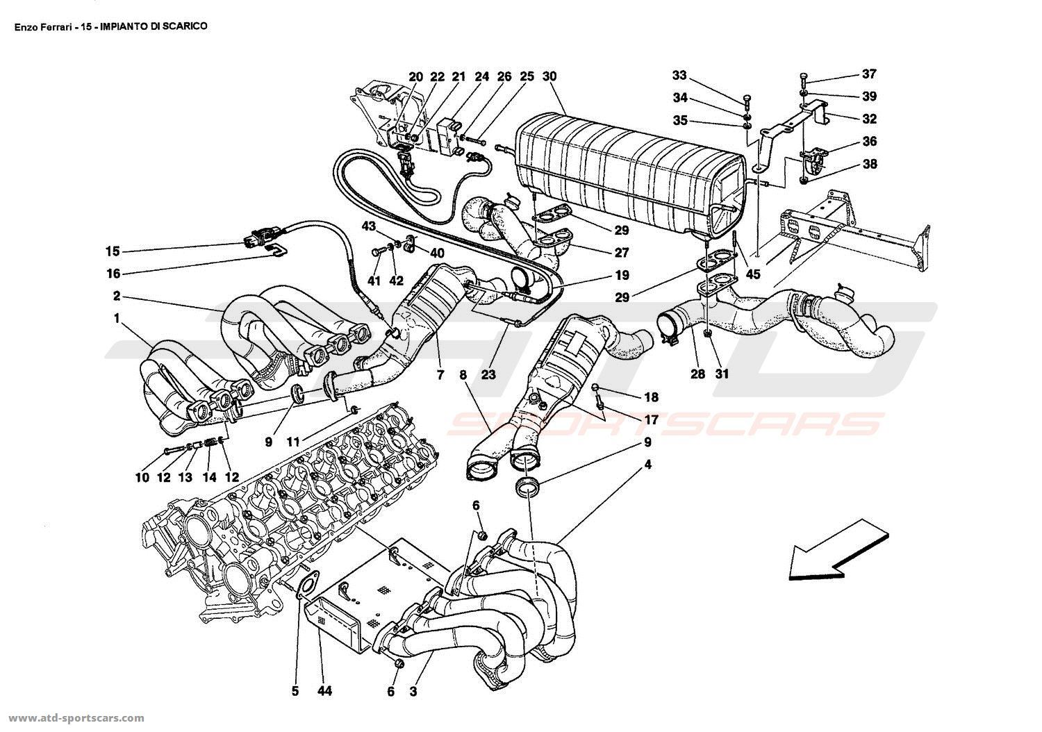 Ferrari Enzo EXHAUST SYSTEM 2 parts at ATD-Sportscars