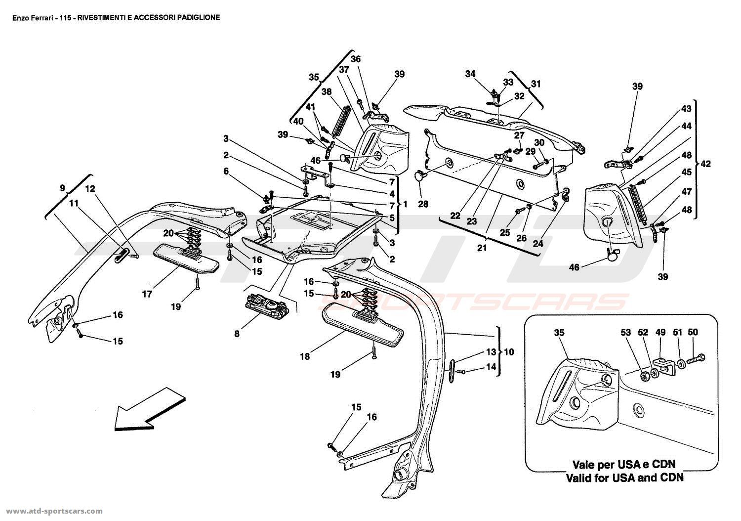 Ferrari Enzo ROOF PANEL UPHOLSTERY AND ACCESSORIES parts