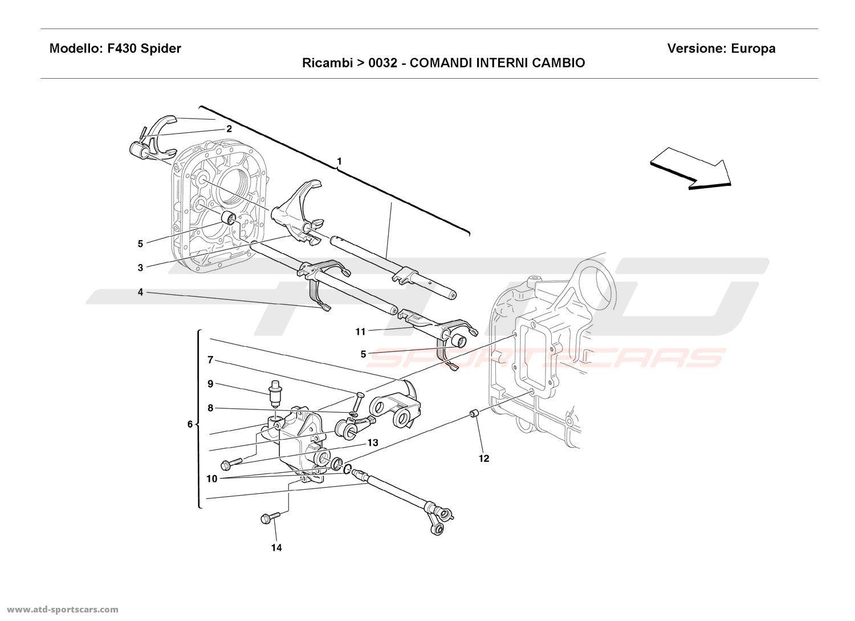 Ferrari F430 Spider INSIDE GEARBOX CONTROLS parts at ATD