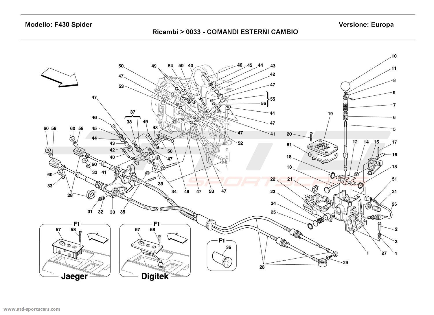 Ferrari F430 Spider OUTSIDE GEARBOX CONTROLS parts at ATD