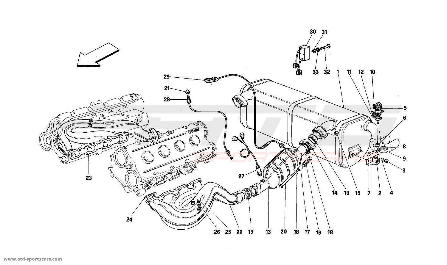 Ferrari Mondial T Exhaust System Parts At Atd Sportscars