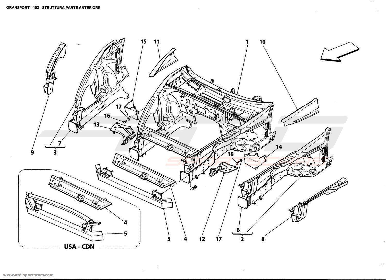 Maserati 4200 Gransport Structural frames parts at ATD