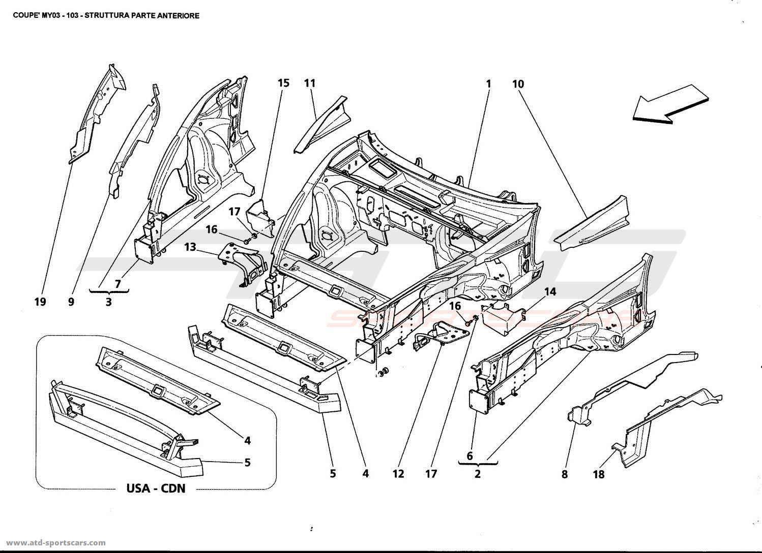 Maserati 4200 GT Coupé 2003 Structural frames parts at ATD