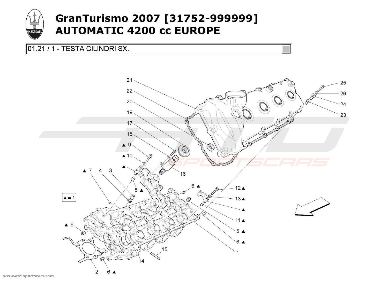 Maserati GranTurismo 4,2L Boite Auto 2007 LH CYLINDER HEAD