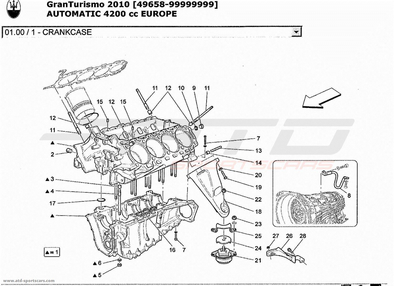 Maserati GranTurismo 4.2L Boite Auto 2010 CRANKCASE parts