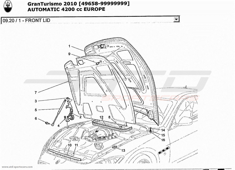 Maserati GranTurismo 4.2L Boite Auto 2010 FRONT LID parts