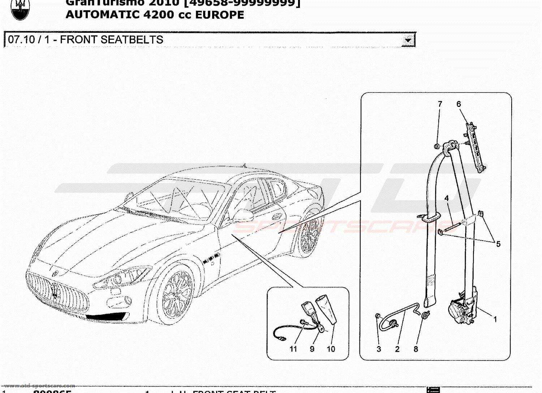 Maserati GranTurismo 4.2L Boite Auto 2010 FRONT SEATBELTS