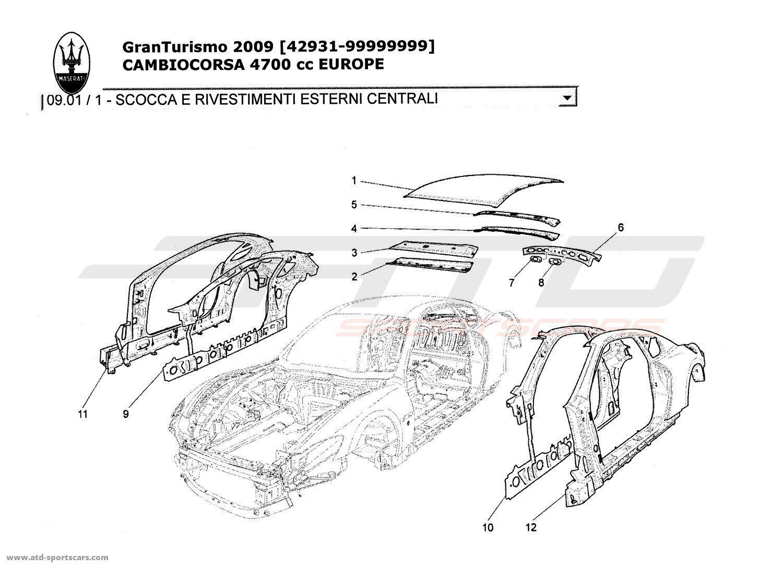 Maserati GranTurismo 4,7L Boite F1 2009 Structural frames