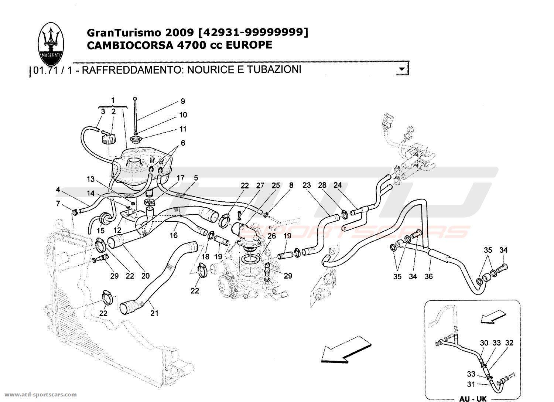 Maserati GranTurismo 4,7L Boite F1 2009 COOLING SYSTEM
