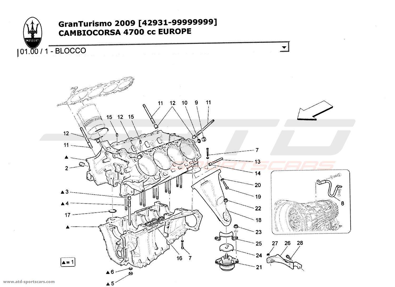 Maserati GranTurismo 4,7L Boite F1 2009 CRANKCASE parts at
