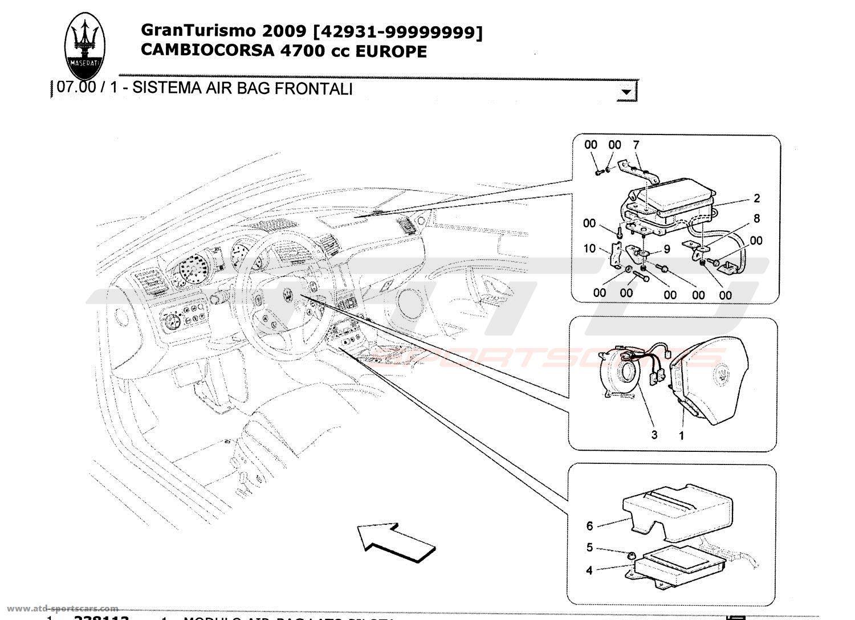 Maserati GranTurismo 4,7L Boite F1 2009 FRONT AIRBAG