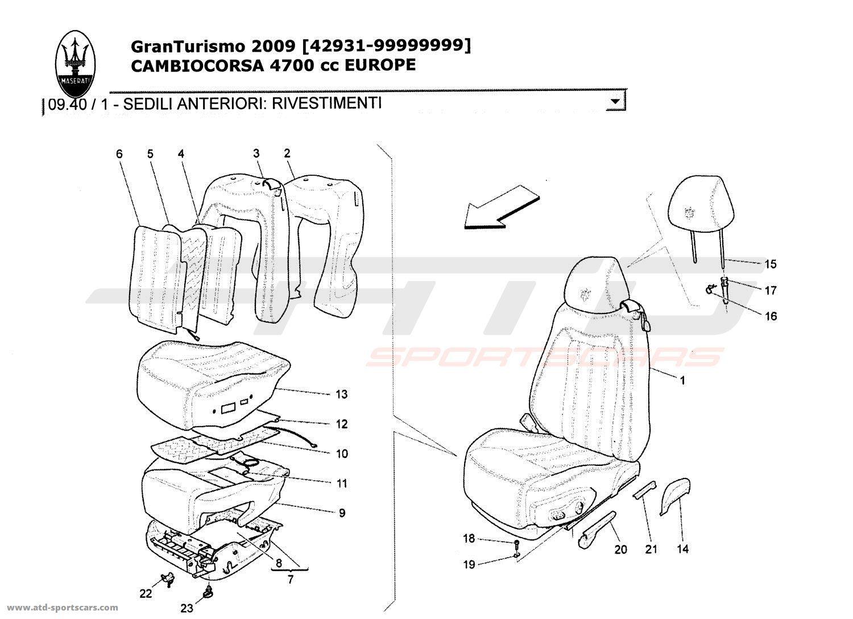 Maserati GranTurismo 4,7L Boite F1 2009 FRONT SEATS: TRIM
