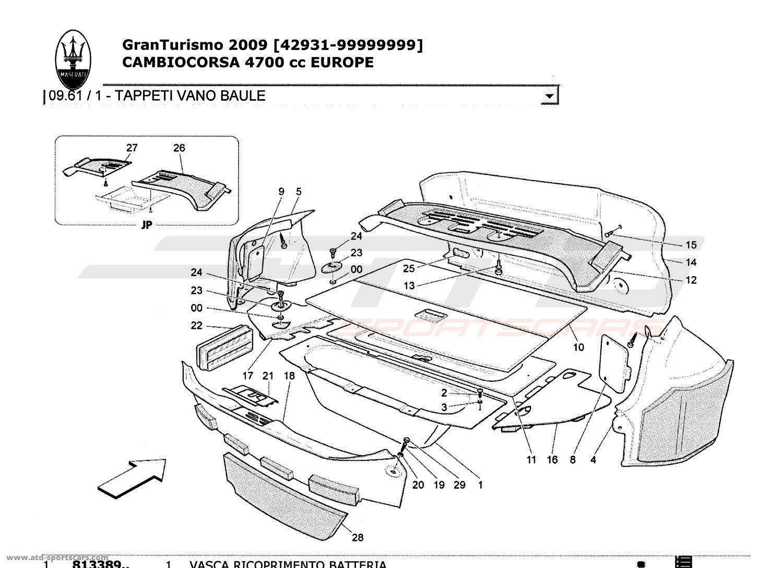 Maserati GranTurismo 4,7L Boite F1 2009 LUGGAGE