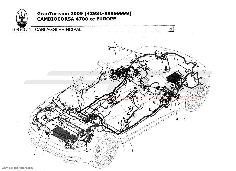 Maserati GranTurismo 4,7L Boite F1 2009 MAIN WIRING parts