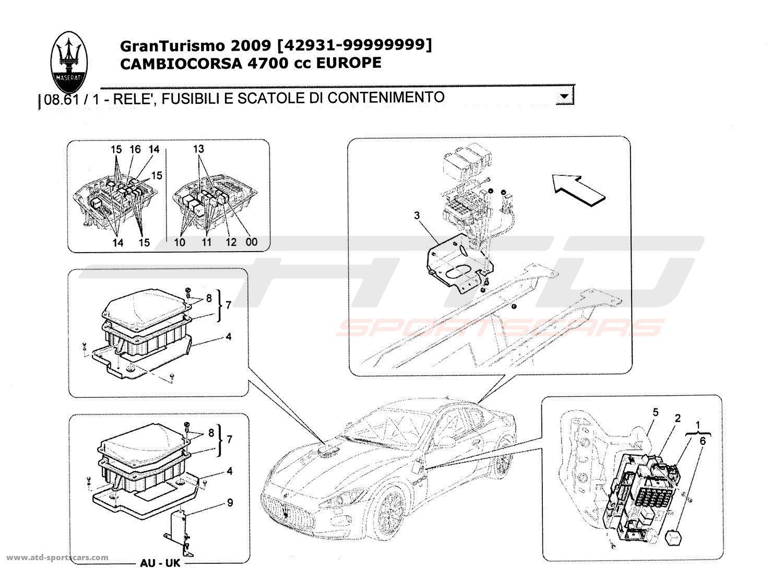 Maserati GranTurismo 4,7L Boite F1 2009 RELAYS, FUSES AND