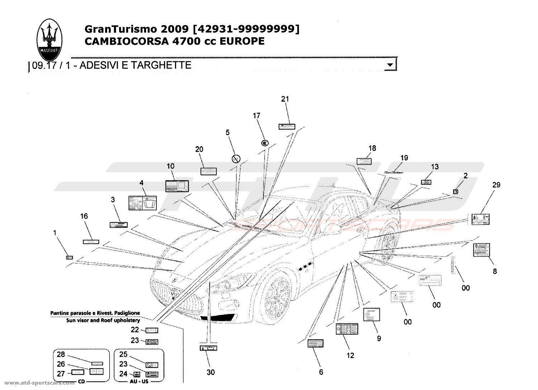 Maserati GranTurismo 4,7L Boite F1 2009 Body parts at ATD